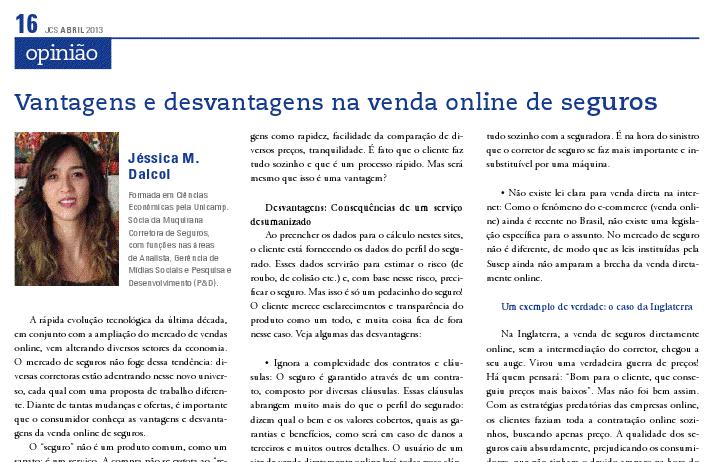 Muquirana Seguros no Jornal dos Corretores de Seguros - JCS