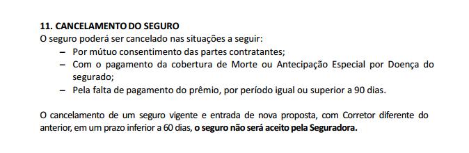 Exemplo - condição geral porto - cancelamento seguro vida