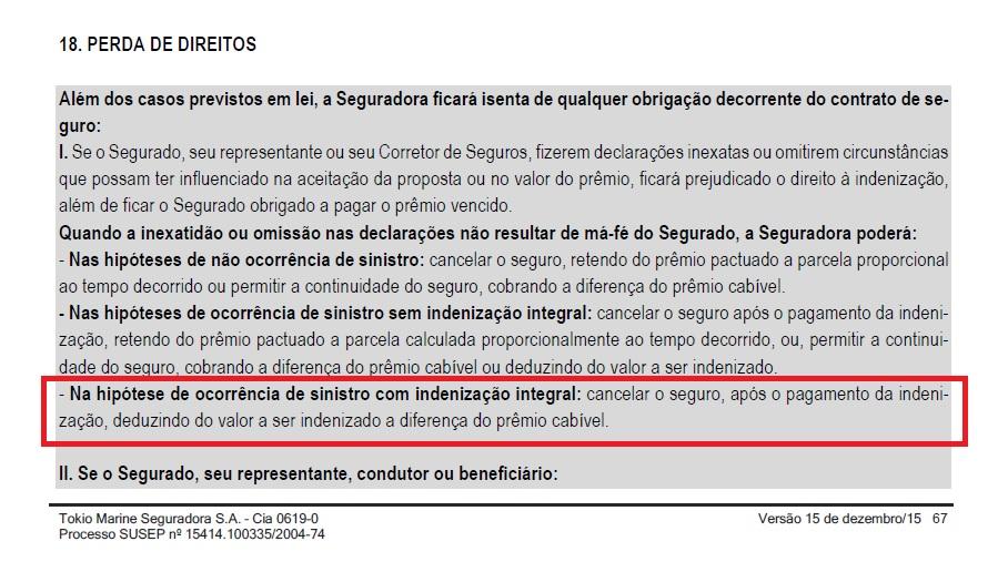 Exemplo - condição geral - seguradora pode descontar parcelas da indenização integral